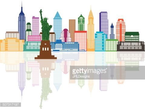 New York City Skyline with Statue of Liberty Color with.