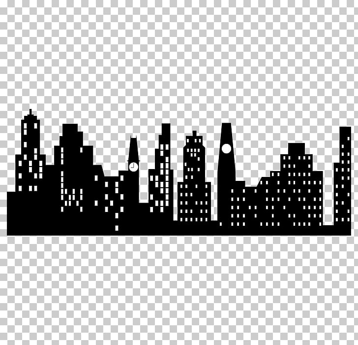 Silhouette New York City Skyline , Silhouette PNG clipart.