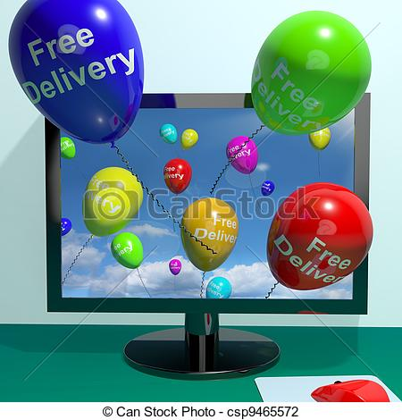 Clip Art of Free Delivery Balloons From Computer Shows No Charge.