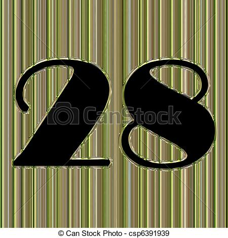 Stock Illustration of Abstract glass background with number 28 and.