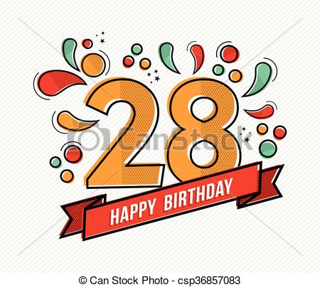 Vector of Colorful happy birthday number 28 flat line design.