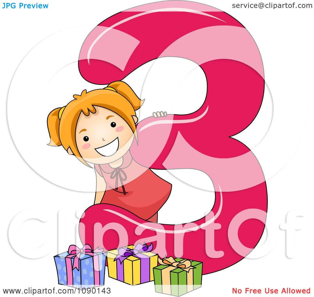 Clipart School Girl And 3 Presents By Number Three.