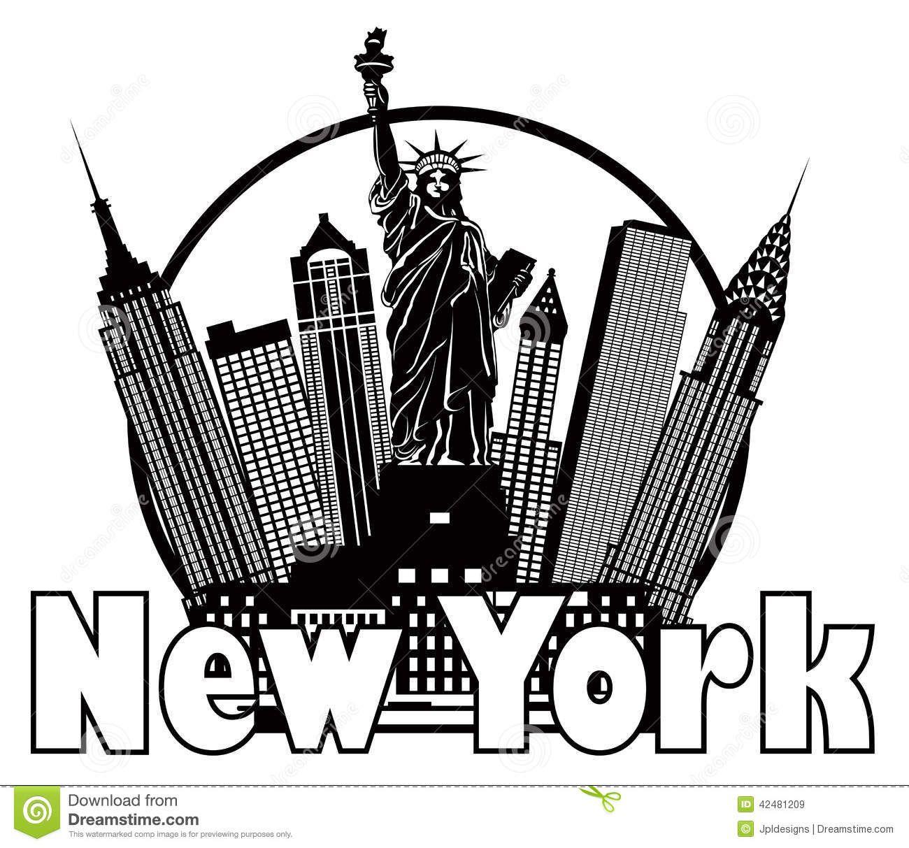 New York City Skyline Black And White Circle Vector Illustration.