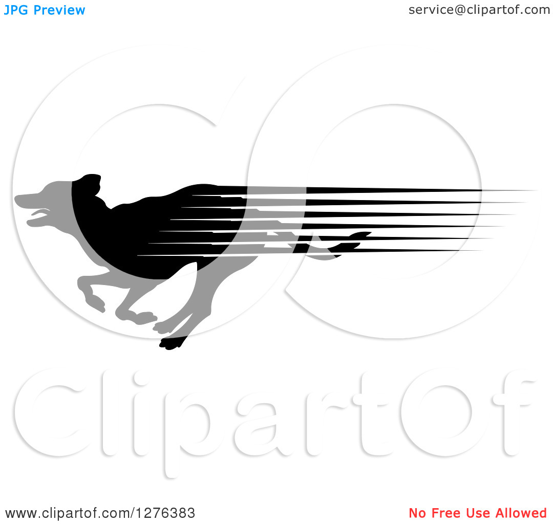 Clipart of a Black Silhouetted Dog with Speed Streaks, Running in.