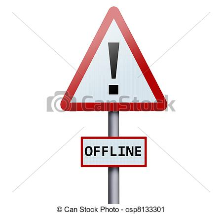Clipart of Offline word on road sign csp8133301.
