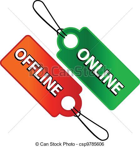Clip Art Vector of Online and offline icon.
