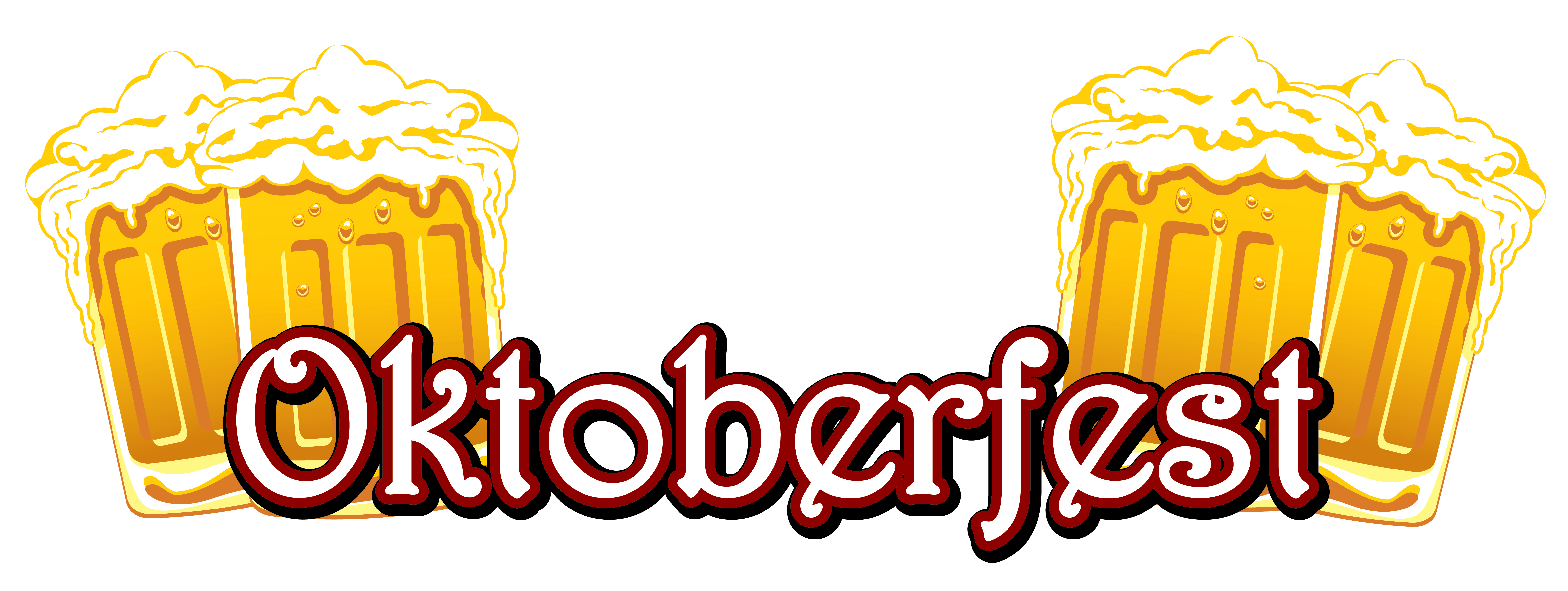 Oktoberfest Text and Beers PNG Clipart Image.