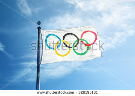Olympic Flag Stock Images, Royalty.