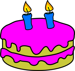 Birthday Cake 2 Candles clip art.