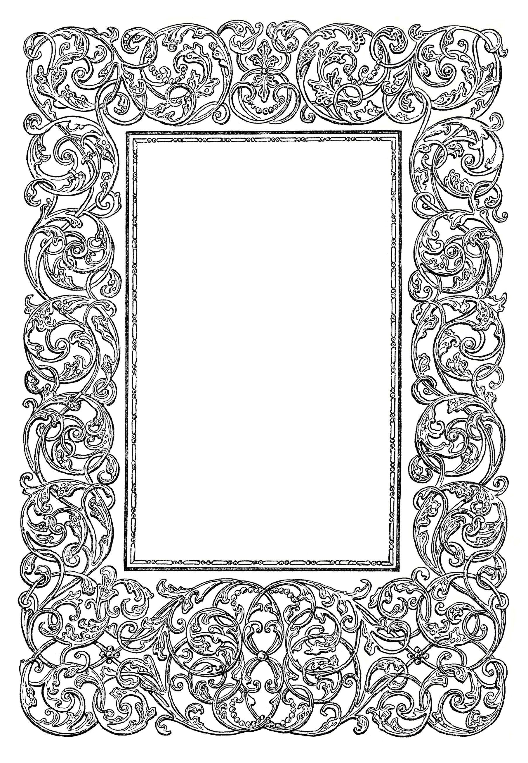 Free Vintage Image ~ Ornate Swirly Frame Clip Art.