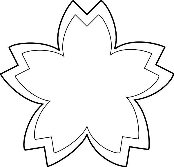 Flower Outline Clip Art Black and White.