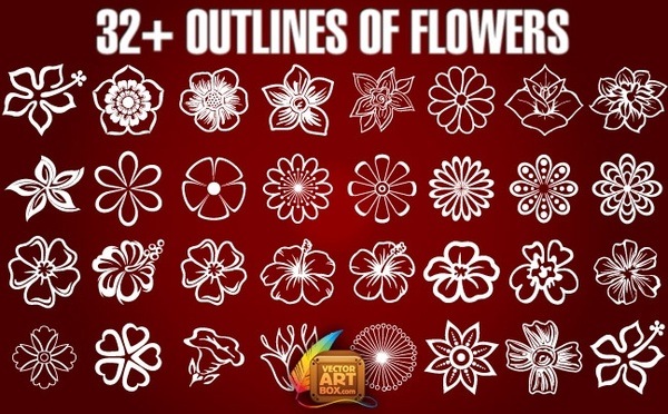 Flower outline free vector download (13,403 Free vector) for.