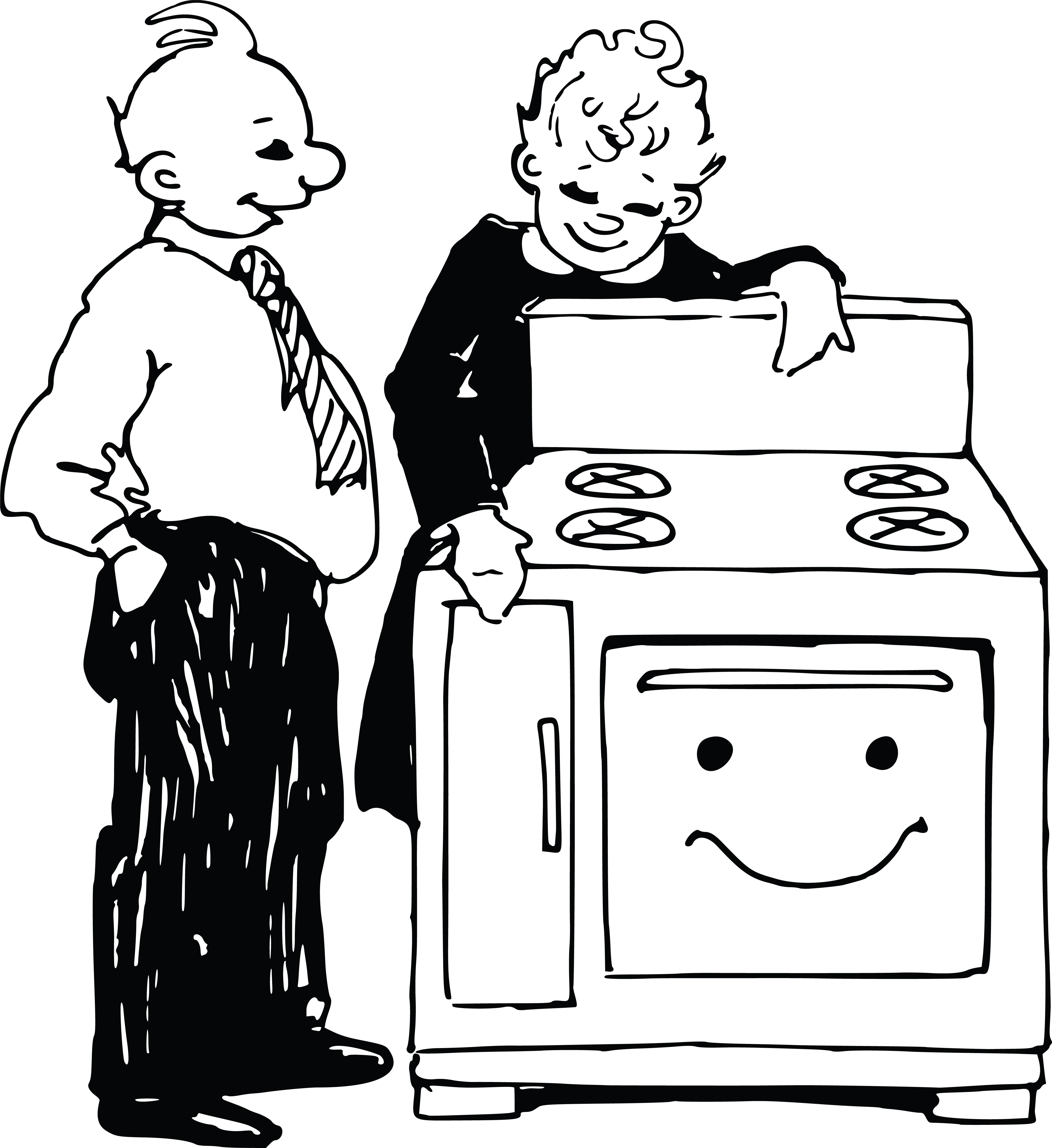 Free Clipart Of A retro salesman and woman looking at an oven.