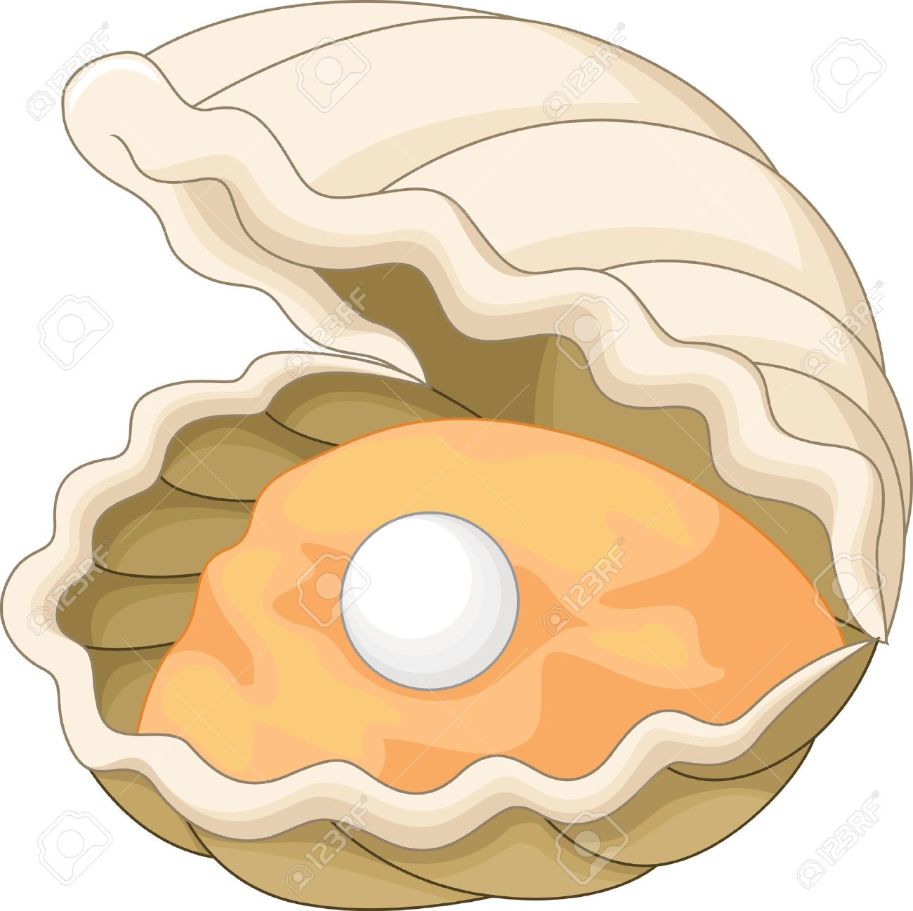 Cartoon Oyster with a pearl.