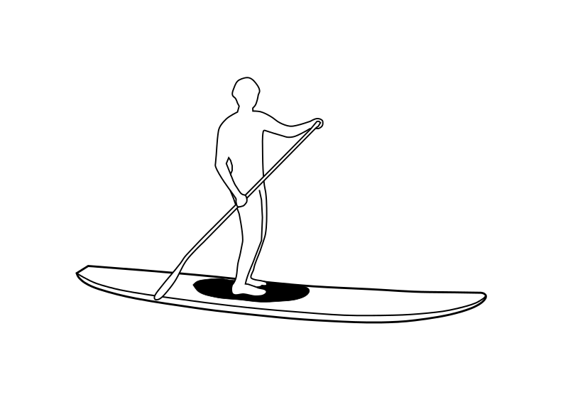 Free Clipart: Stand Up Paddleboard Silhouette.