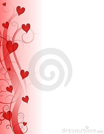 Red Valentine's Day Hearts Page Border Royalty Free Stock Photos.