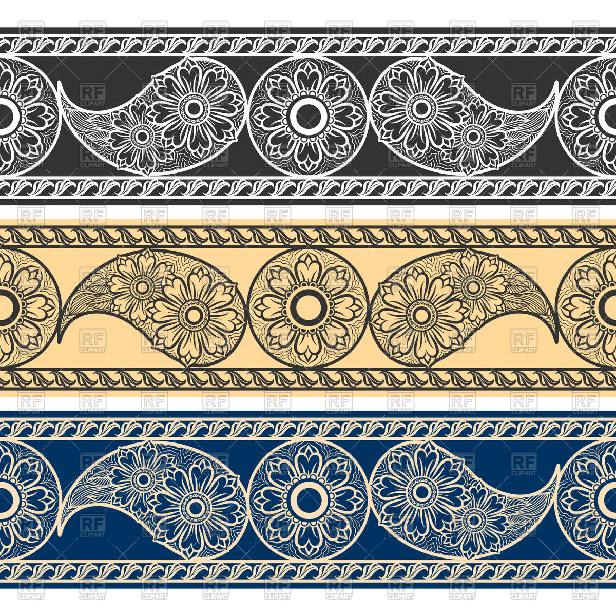 Paisley horizontal borders Stock Vector Image.