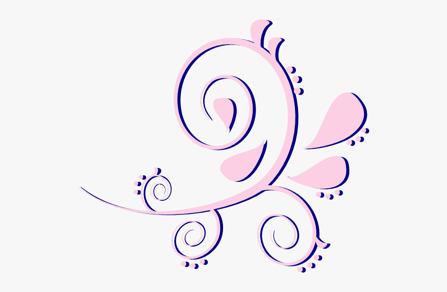 Paisley Curves Pink On Blue Svg Clip Arts 600 X 522.