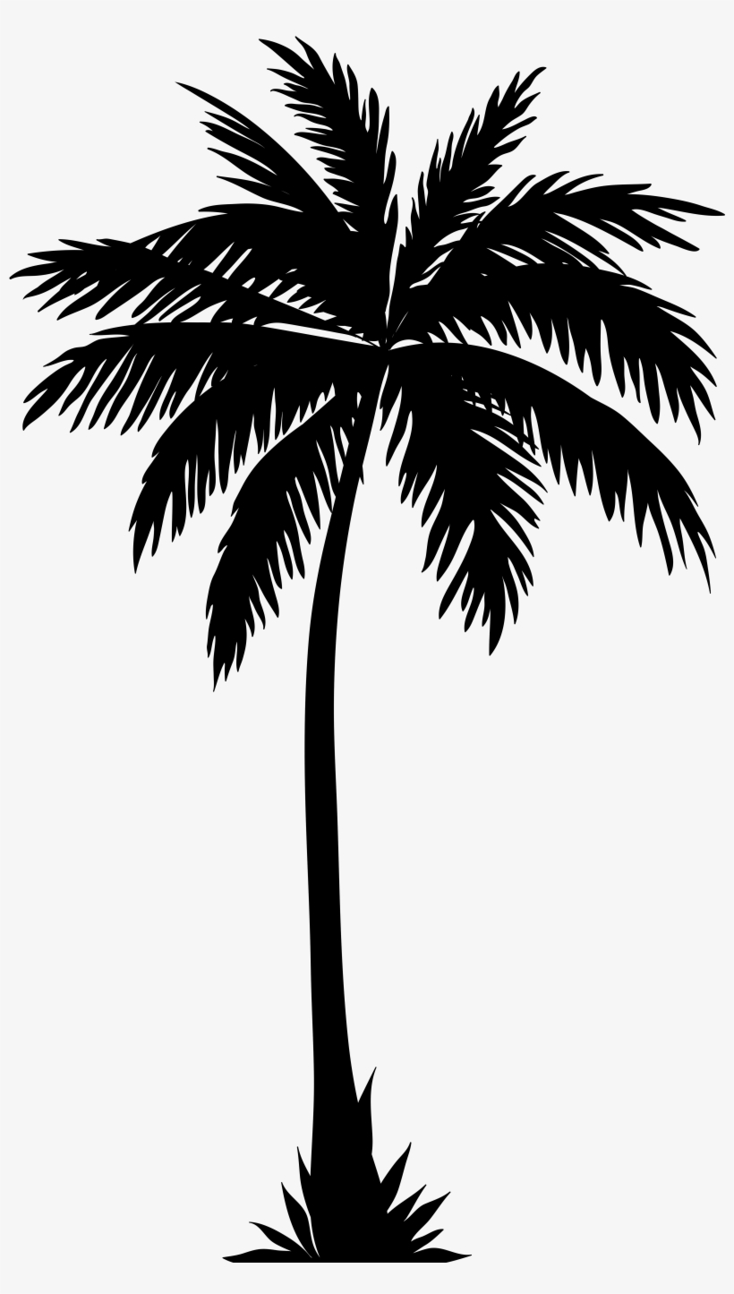 Palm Tree Silhouette Png Clip Art Image.