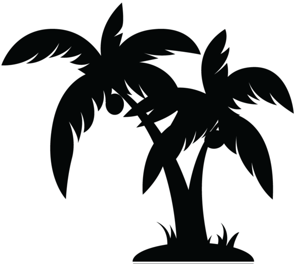 Palm Tree Clipart Black And White.