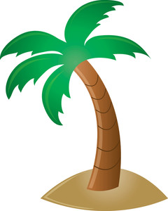 Palm Tree On Island Clipart.
