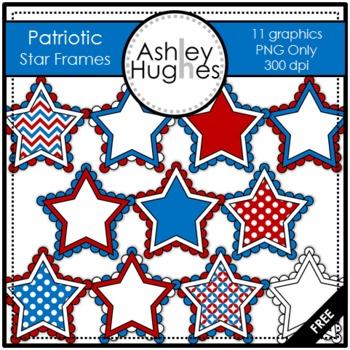 FREE Patriotic Star Frames Clipart {A Hughes Design}.