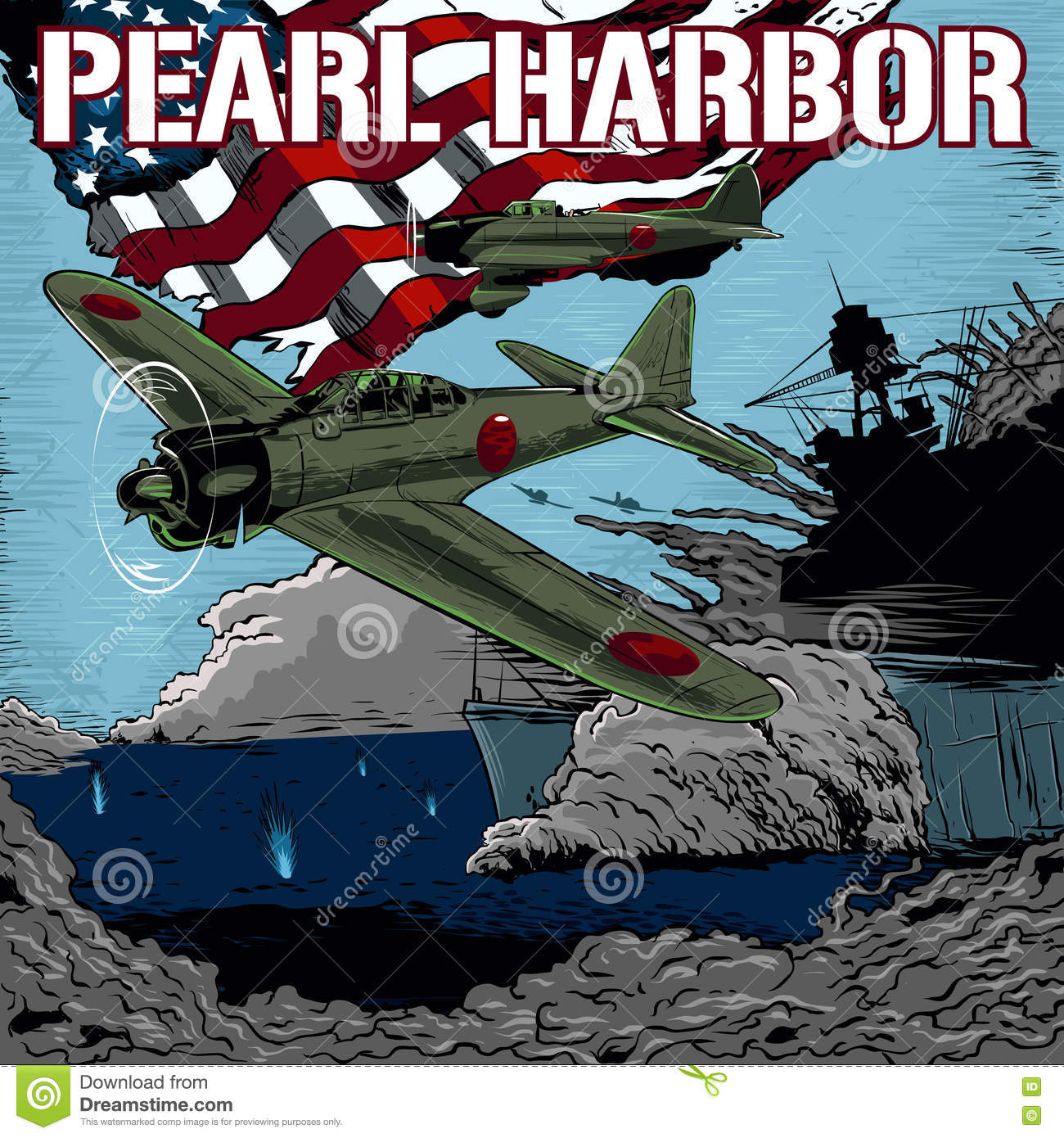 Attack on Pearl Harbor stock vector. Illustration of combat.