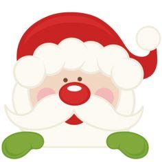 Free Peeking Santa Clipart.
