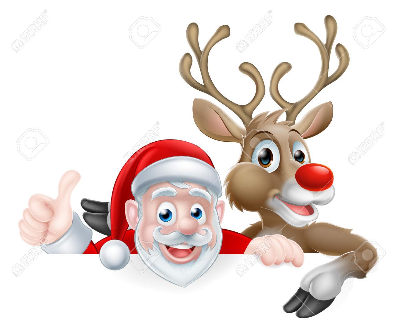 Christmas Illustration Of Cartoon Santa And Reindeer Peeking.