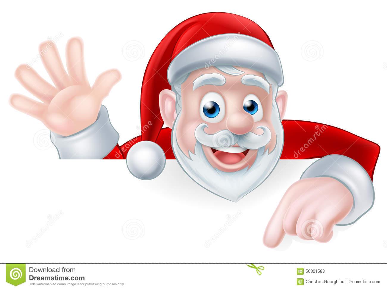 Peeking Santa Clipart.