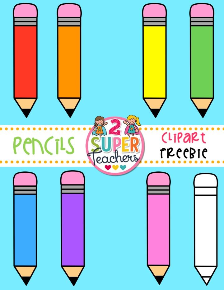 FREE pencil clipart for teachers: printables, worksheets, games.