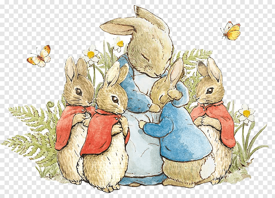 Rabbits illustration, The Tale of Peter Rabbit and Benjamin.