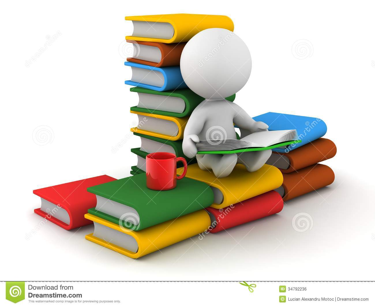 3D Man Reading Book Sitting On Stack Of Books Royalty Free Stock.