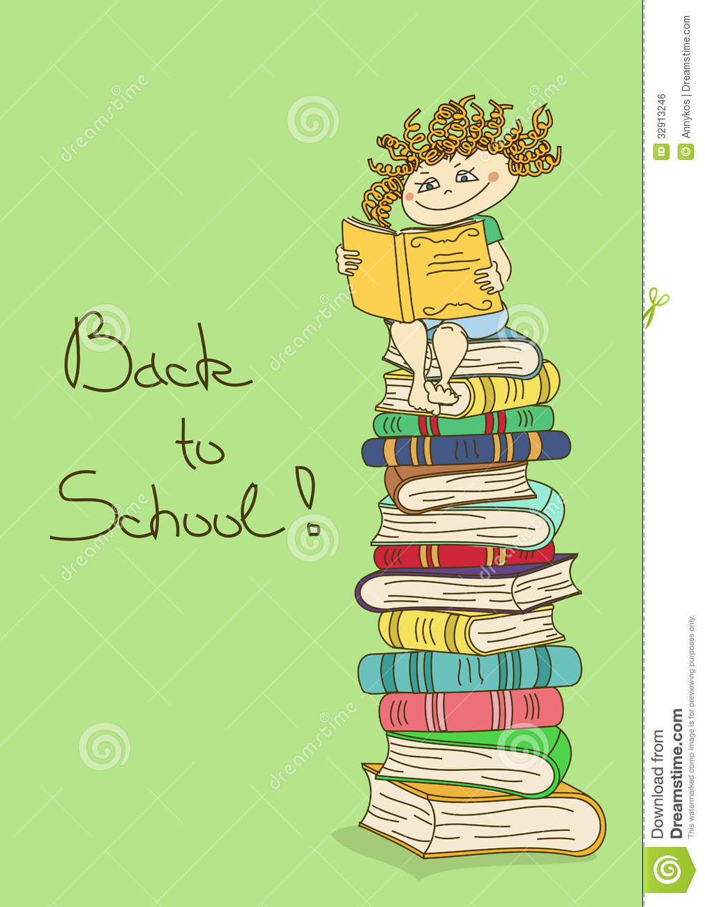 Child Sitting On A Stack Of Books And Reading Royalty Free Stock.