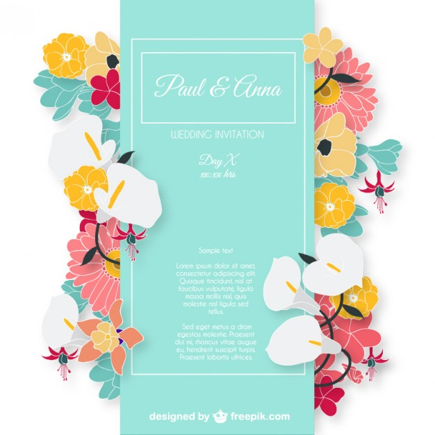 Wedding invitation card with colorful flowers Vector.
