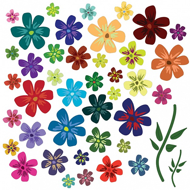 38 Colorful flowers Vector.