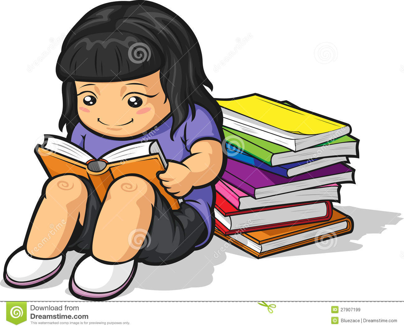 Cartoon Of Girl Student Studying & Reading Book Royalty Free Stock.