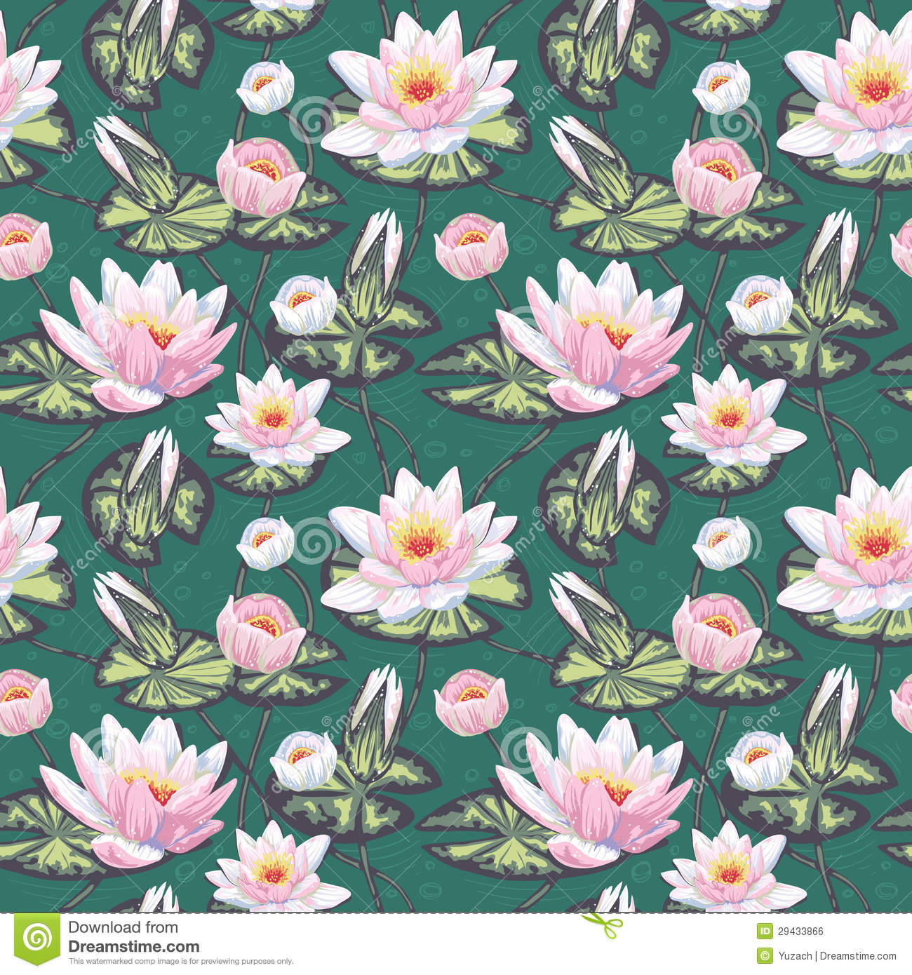 Floral Seamless Pattern With Water Lily Royalty Free Stock Image.