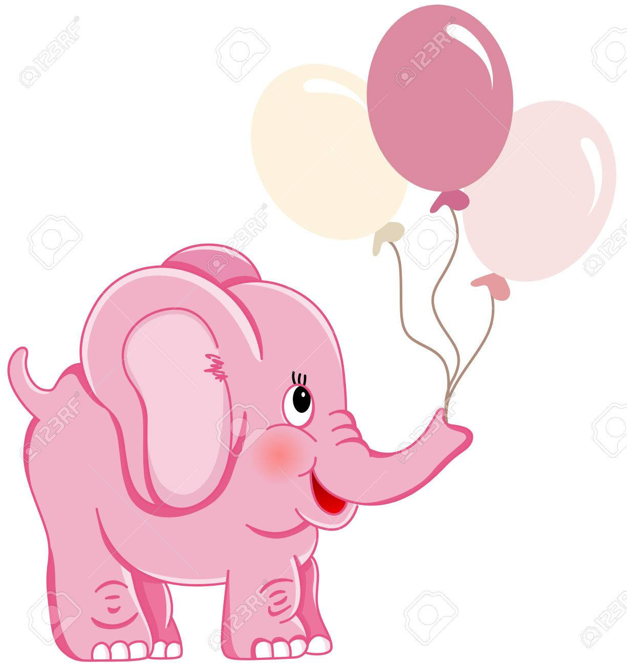 Cute pink elephant holding balloons.