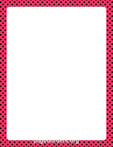 Pink and Black Polka Dot Border: Clip Art, Page Border, and Vector.