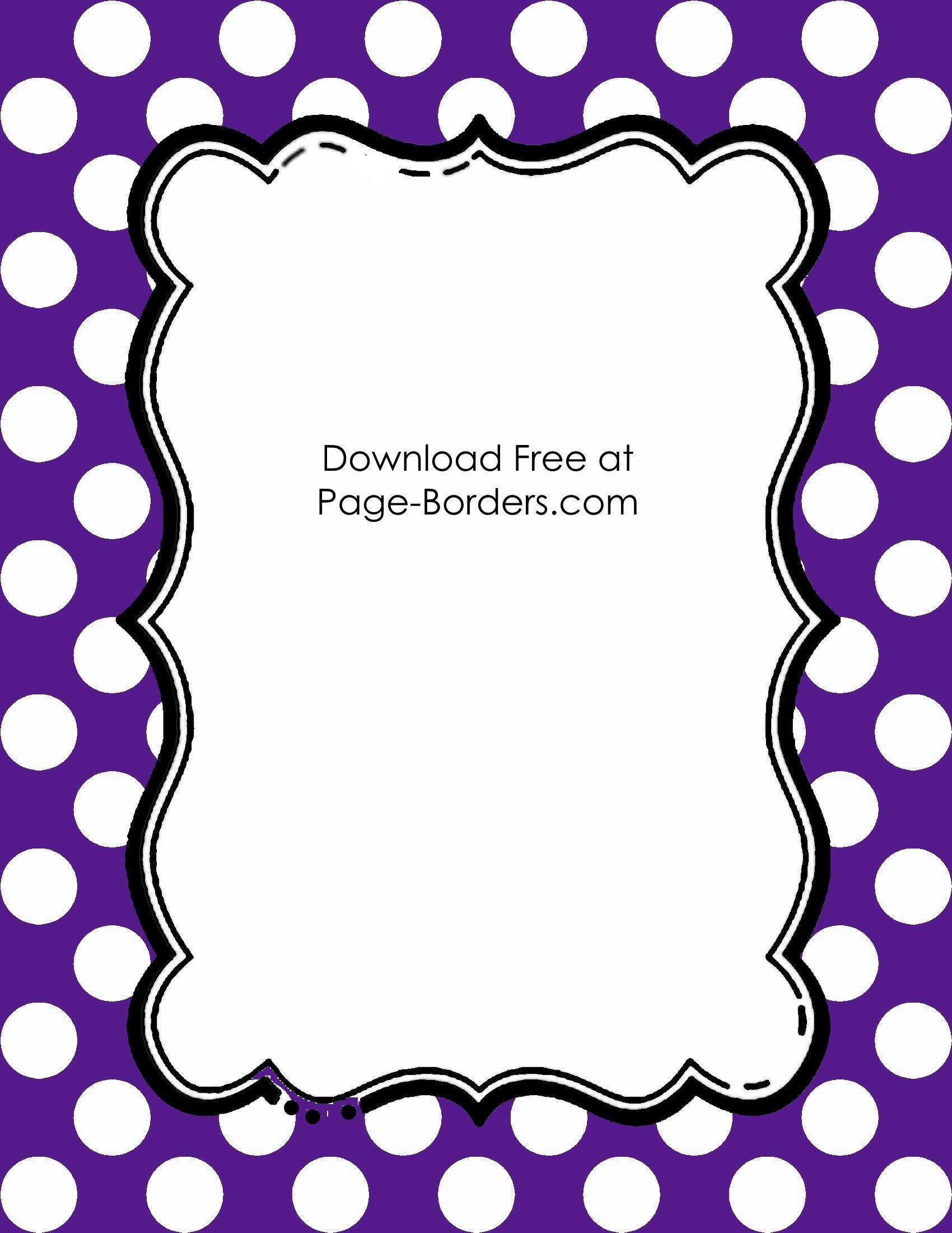 Free Polka Dot Border Templates in 16 Colors.