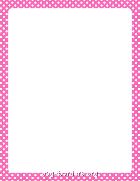 Hot Pink and White Polka Dot Border: Clip Art, Page Border.