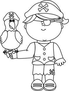 Pirate Parrot Clipart Black And White.