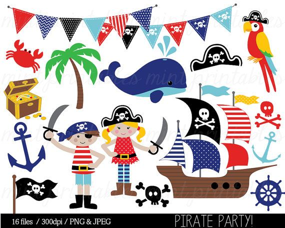 Pirate Clipart, Pirates Clip Art, Nautical, Whale, Anchor.