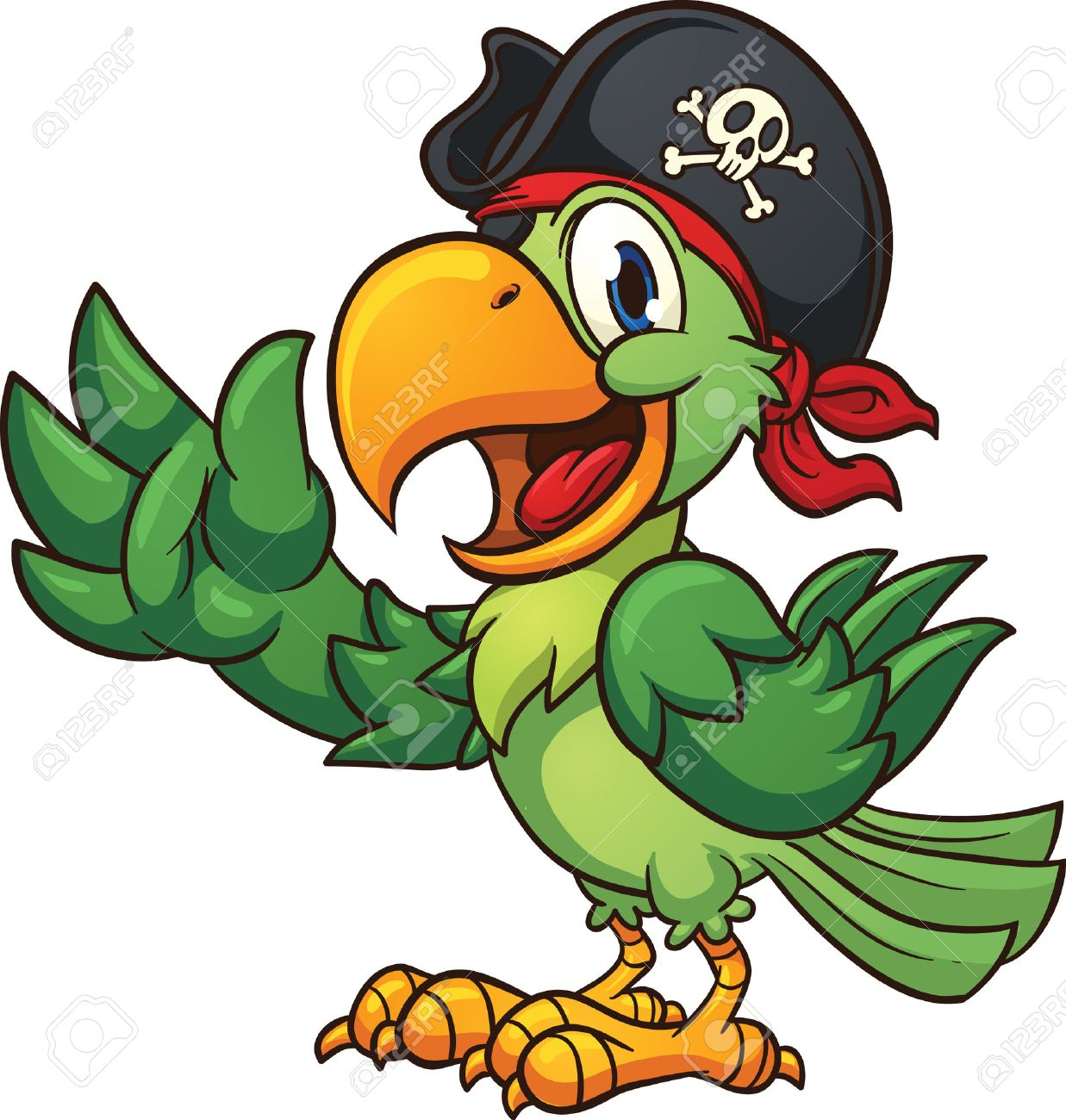 Cartoon pirate parrot. Vector clip art illustration with simple...