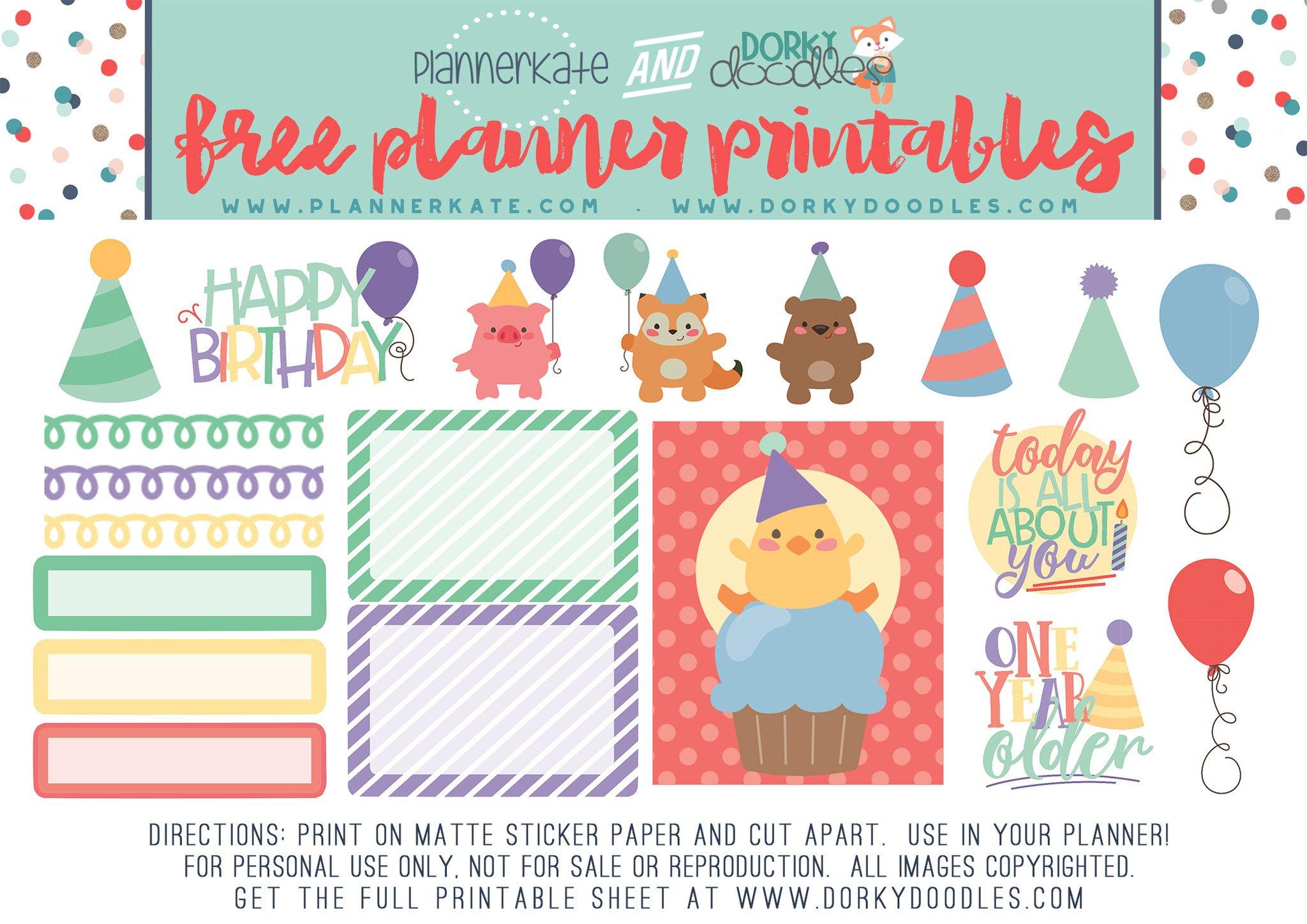 Birthday Planner Sticker Freebie.