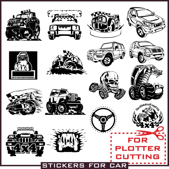 Stickers 4x4 vector clipart for plotter cutting download cdr.