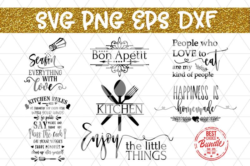 Free Kitchen Bundle SVG Cut Files, Kitchen Sayings DXF PNG EPS.