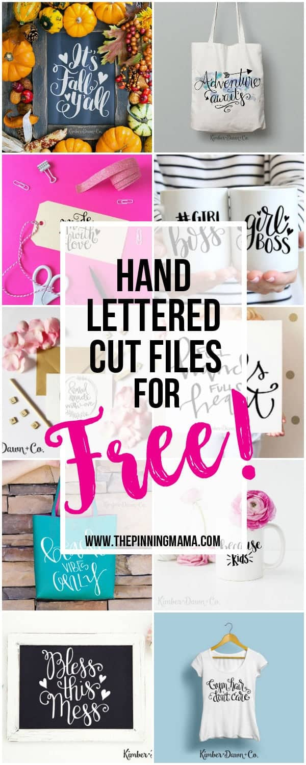 15 Gorgeous FREE Hand Lettered Cut Files! • The Pinning Mama.