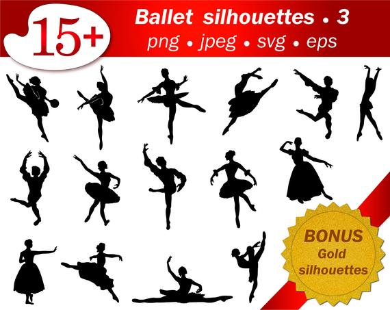 Ballet people SVG stencil template cutting ballerina silhouette cameo  vector editable Free png gold glitter silhouette printable files.